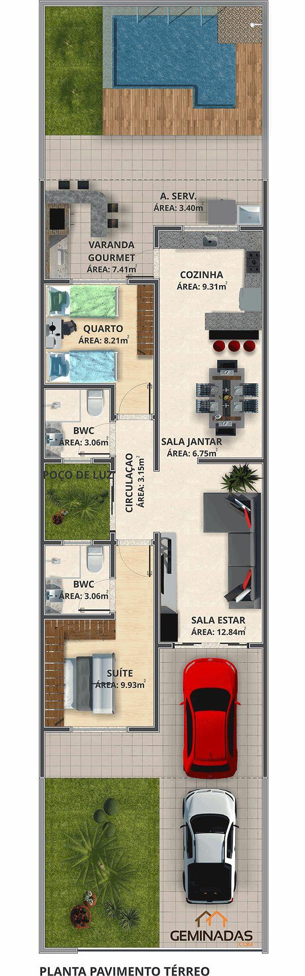 25 melhores ideias sobre casas geminadas no pinterest for Casa moderna 90m2