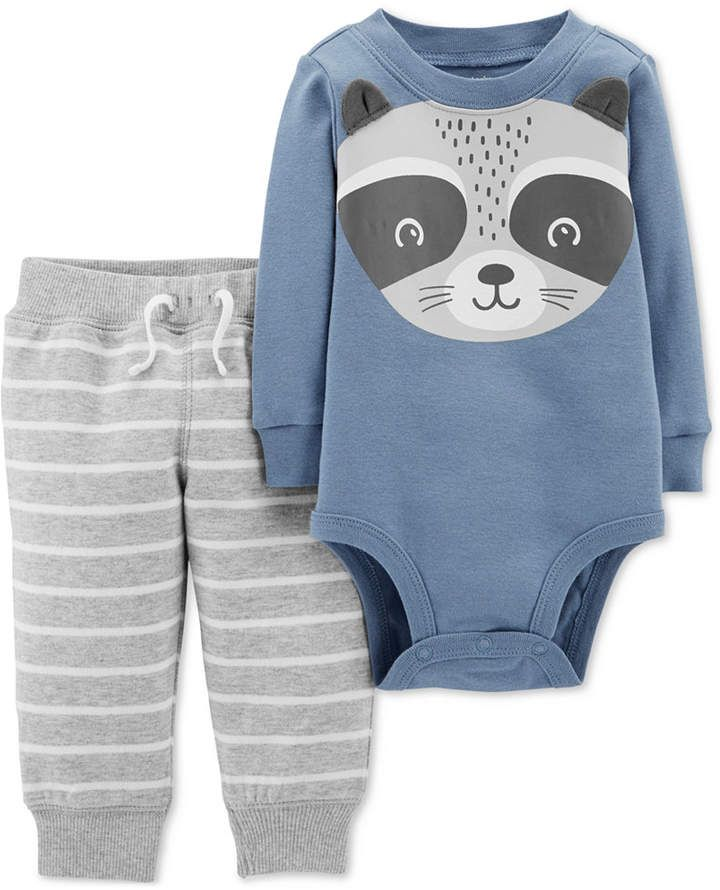 9725ccf81 Carter s Baby Boys 2-Pc. Cotton Racoon Bodysuit   Striped Jogger ...