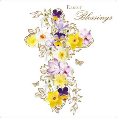 Cross with flowers #Easter card, finished with glitter varnish....