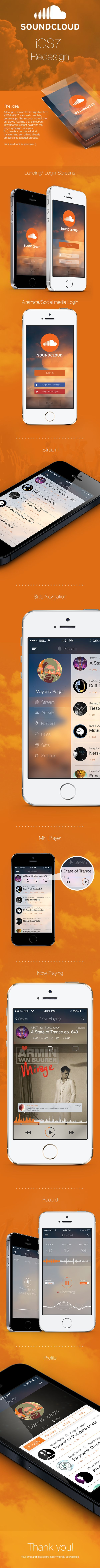 Soundcloud app iOS7 redesign by Mayank Sagar, via Behance