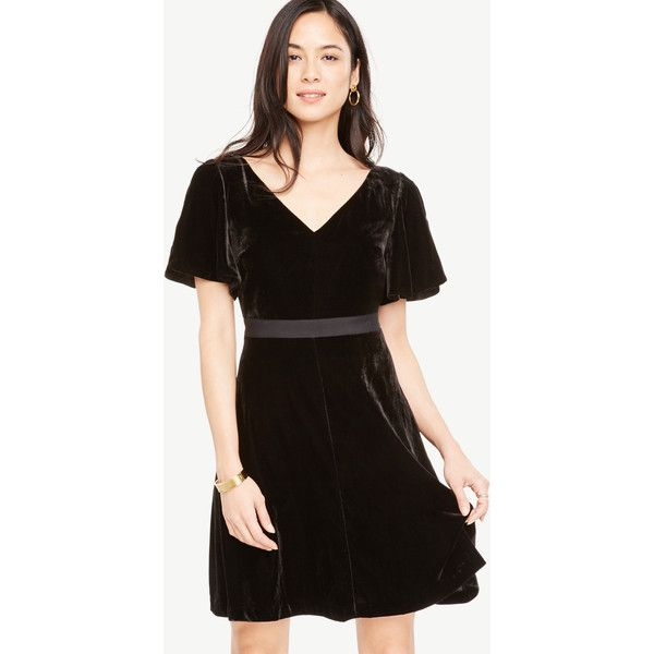 Ann Taylor Petite Short Sleeve Velvet Dress ($159) ❤ liked on Polyvore featuring dresses, black, short sleeve dress, velvet party dresses, cocktail dresses, petite party dresses and petite cocktail dress