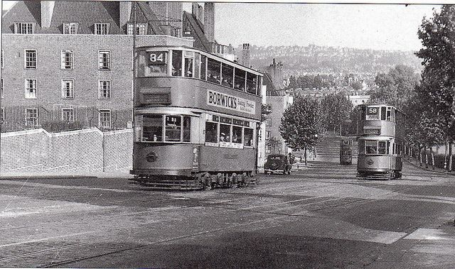 London trams on Dog Kennel Hill