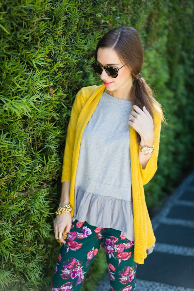 green floral pants and mustard cardigan <3 #anthrofave