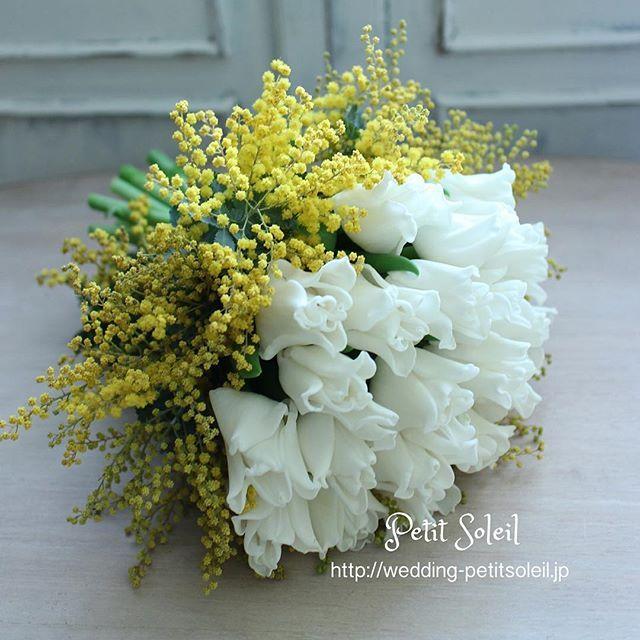 ミモザとチューリップのブーケ ♡ ♡ ミモザもチューリップの季節もあと少し。。。 ♡ #ミモザ #チューリップ #ミモザブーケ #ミモザリース #ミモザウェディング #チューリップブーケ #黄色 #白 #ウェディングブーケ #ウェディングドレス #ブライダルブーケ #春 #wedding #weddingbouquet #bridalbouquet #mimosa #tulip #tulips #weddingdresses #weddingflowers #weddingdecor #結婚式の花 #プレ花嫁