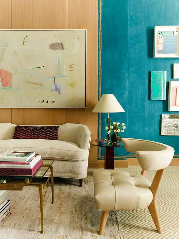 Design Firm Mendelson Group Featured Suede Lounge 4337 Blue Lagoon In The Of 2014 Kips Bay Designer Showhouse