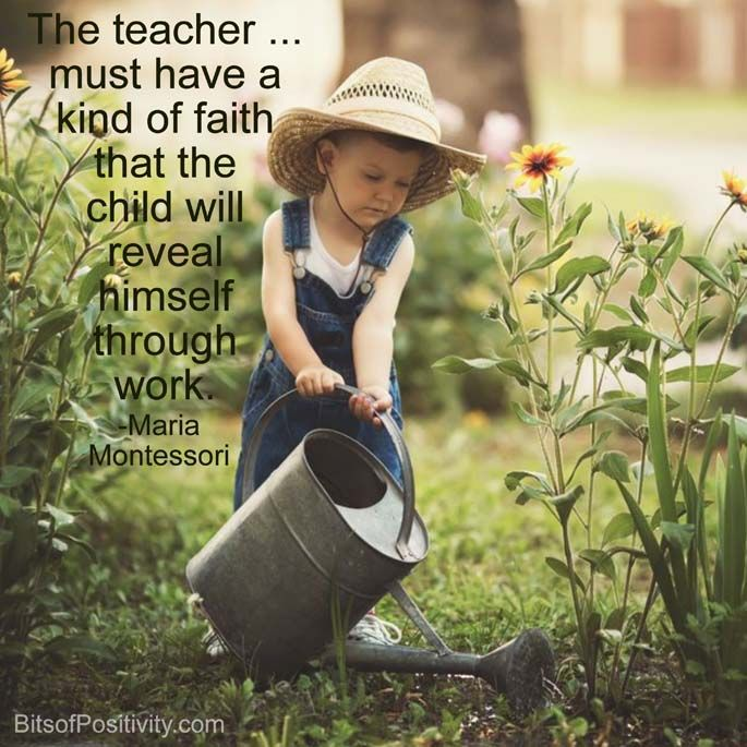 """Montessori word art freebie based on the Maria Montessori quote """"The teacher … must have a kind of faith that the child will reveal himself through work."""""""