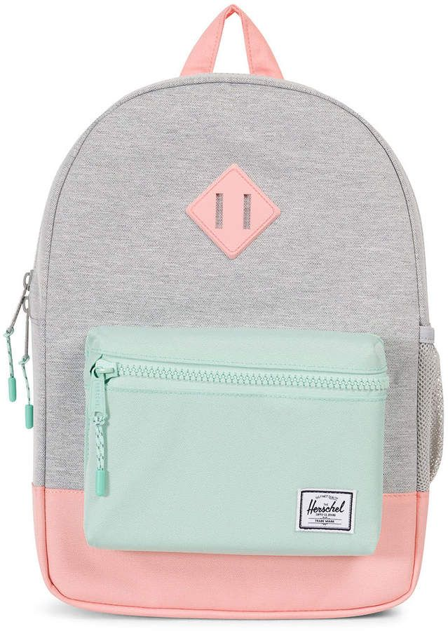 Light Grey Crosshatch And Peach Heritage Kids Backpack Safe Style