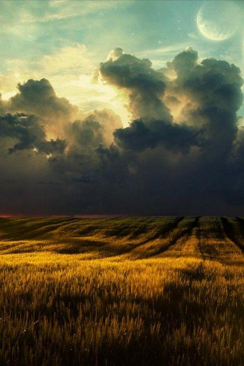 FieldPlanets, Clouds Wallpapers, Sky, Nature, Digital Art, Desktop, Landscapes, Outer Spaces, Fields