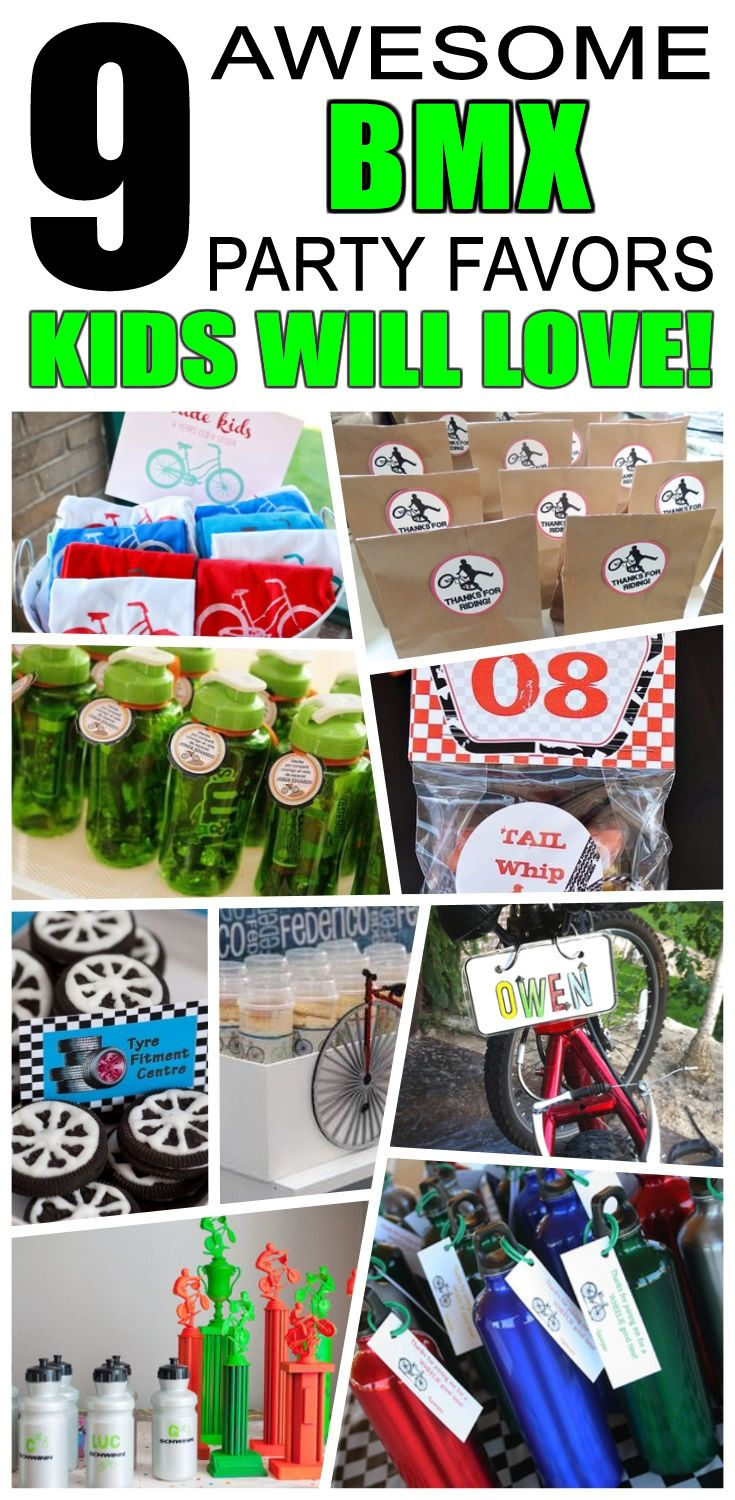 Great bmx party favors kids will love. Fun and cool bmx birthday party favor ideas for children. Easy goody bags, treat bags, gifts and more for boys and girls. Get the best bmx birthday party favors any child would love to take home. Loot bags, loot boxes, goodie bags, candy and more for bmx party celebrations.