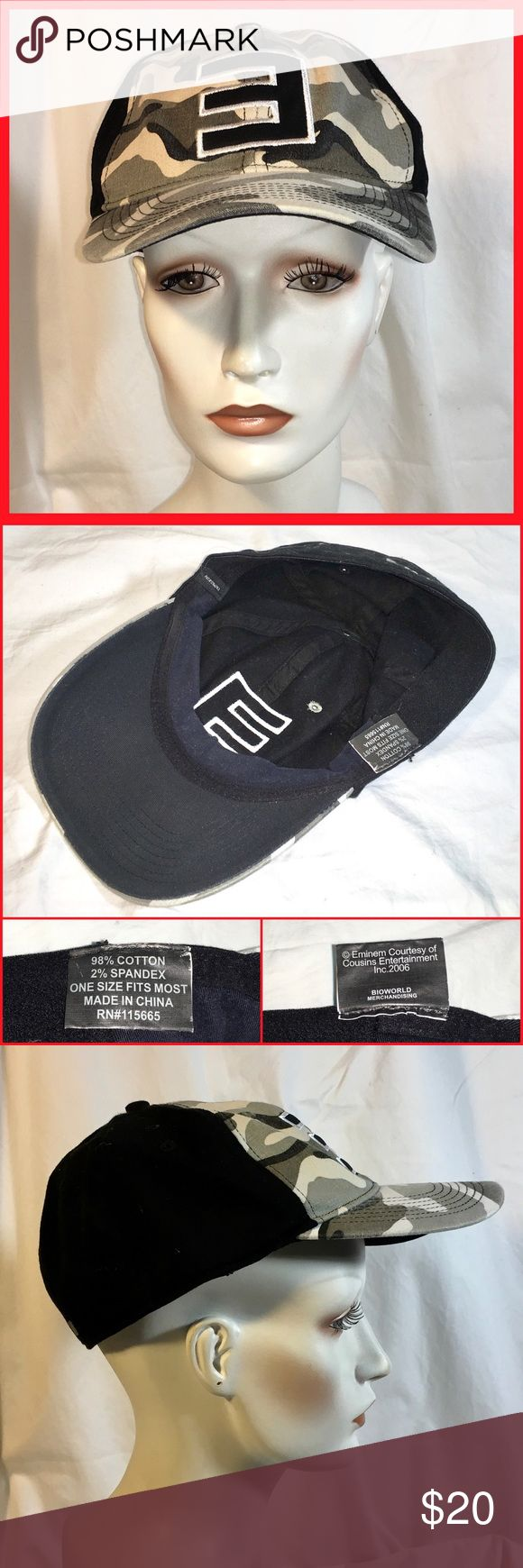 Eminem E hat cap camo Worn a few days by my son years ago.  No wear, stains, or damage.  Small adult size.  Distresses light camo and black. Accessories Hats