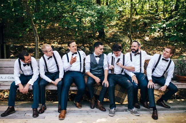 Groomsmen in suspenders + bow ties