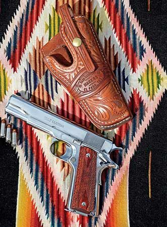 Bling? | American Handgunner | The perfect match for a shiny Colt 1911 .38 Super is a fullycarved holster from El Paso Saddlery | Click here to read more: http://americanhandgunner.com/bling/