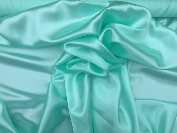 Pale mint green plain satin fabric evening wear dress wedding decorations drapery decor sashes pantomime costumes fabrics - PER METRE