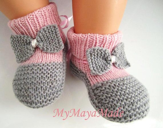 Bow Tie Pink and Gray Wool Baby Booties Socks  Size by mymayamade