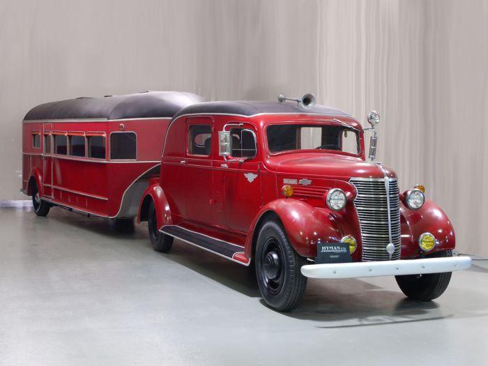 1938 Chevrolet HC 1-ton truck and custom-built Curtiss Aerocar trailer.