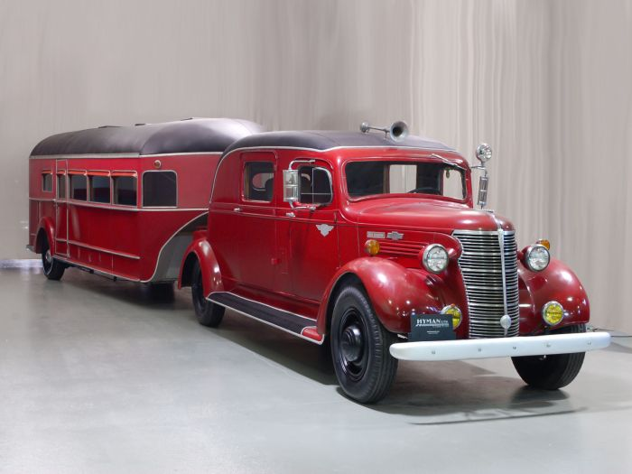 1938 Chevrolet HC 1-Ton Truck And Custom-Built Curtiss Aerocar Trailer. ★。☆。JpM ENTERTAINMENT ☆。★。