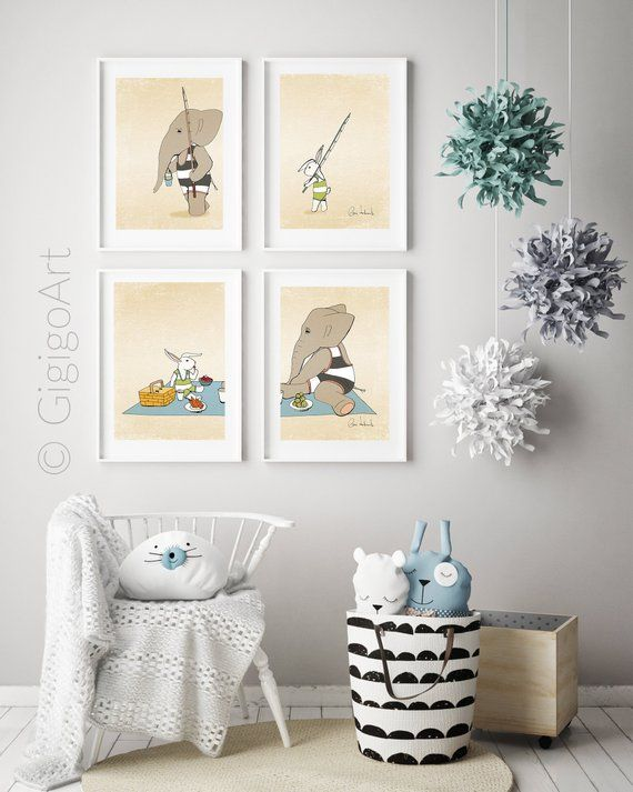 Set 4 posters, Nursery decor, Art kid poster, Animals print, Elephant wall art, …