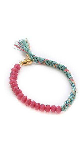 Shashi Roxy Large Bracelet$80 silk cords strawberry qtz fake clasp 6.5''