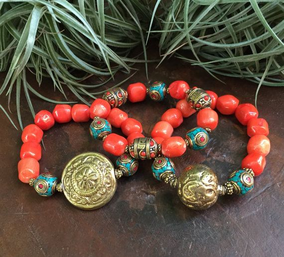Bamboo Coral Nugget Brass Tribal Triple by JewelrybyKellyWalker