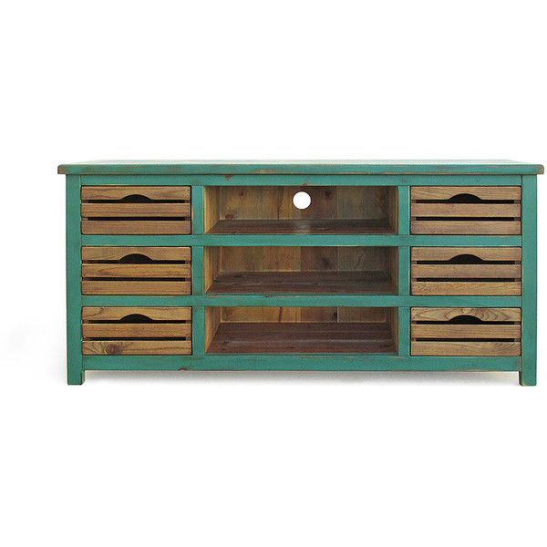 Media Console Tv Stand Reclaimed Wood Console Table Entertainment... ($695) ❤ liked on Polyvore featuring home, furniture, storage & shelves, entertainment units, console tables & cabinets, grey, home & living, living room furniture, drawer shelf and reclaimed wood tv console