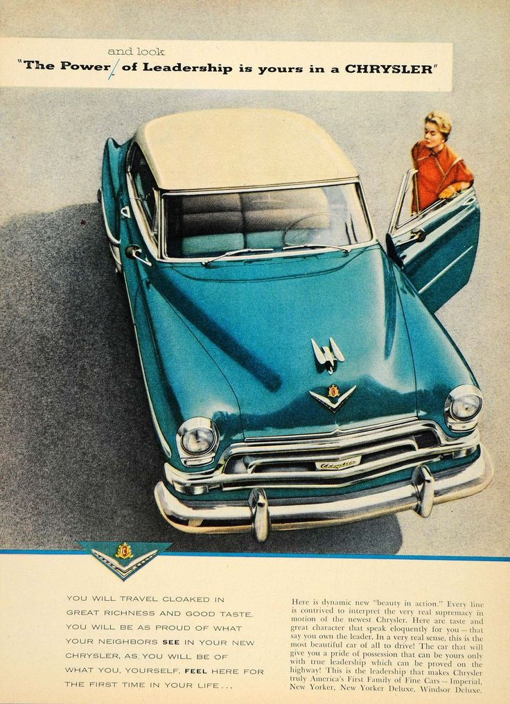 1953 Ad Vintage Blue Chrysler Imperial New Yorker - ORIGINAL ADVERTISING TM3