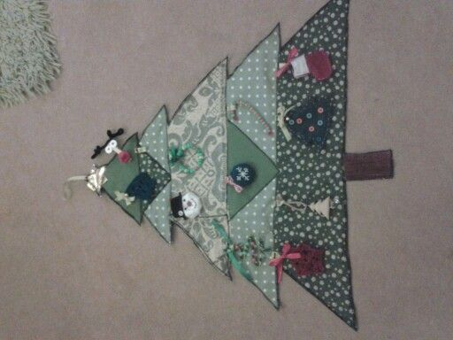 Fabric Christmas tree with decorations made by all the family for my nephew in cambodia.