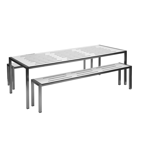 The Slot outdoor table and bench, designed and manufactured by Tait Outdoor