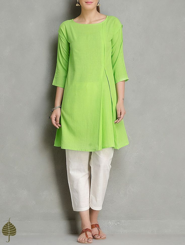 Buy Green Cotton Kurta by Jaypore Apparel Tunics & Kurtas Easy Breezy Handwoven Pants Online at Jaypore.com