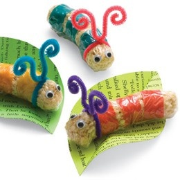 very hungry Catepillar  rice crispie treats and fruit roll ups