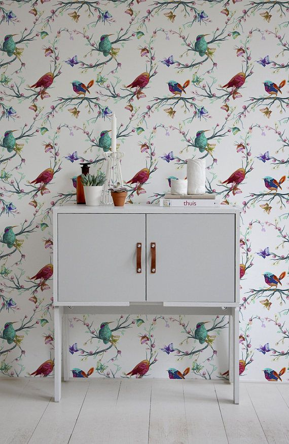 Removable Wallpaper Peel And Stick Wallpaper Wall Paper Wall Etsy Vintage Bird Wallpaper Bird Wallpaper Removable Wallpaper