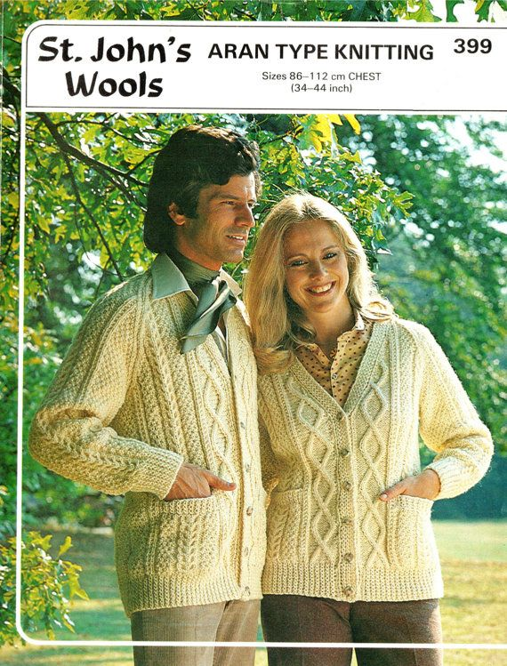 PDF Vintage 1970s Womens Ladies ARAN Cardigans Knitting