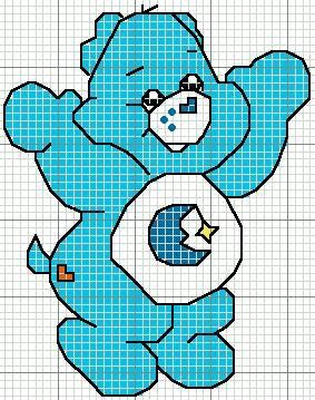 Corner Embroidery: Cross Stitch Chart Care Bears