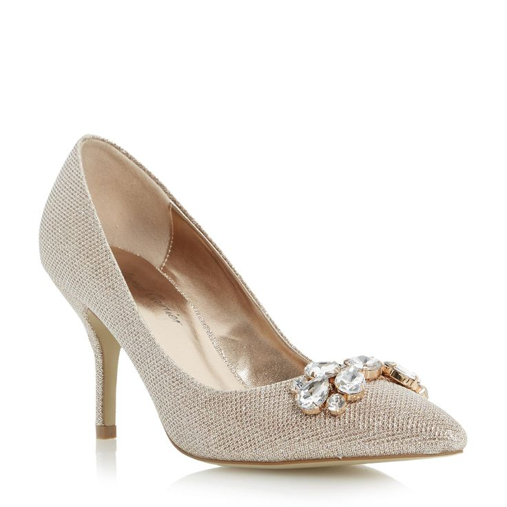 Roland Cartier Las Bellomi Jewel Embellished Pointed Toe Court Shoe Gold Dune Shoes