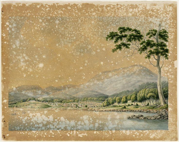 North Coast [or East] View of Hobart Town Van Dieman's Land / on the River Derwent Joseph Lycett