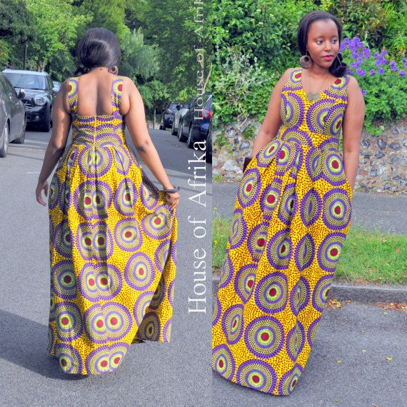 African print maxi dress in multi-coloured print with box pleats and deep side pockets