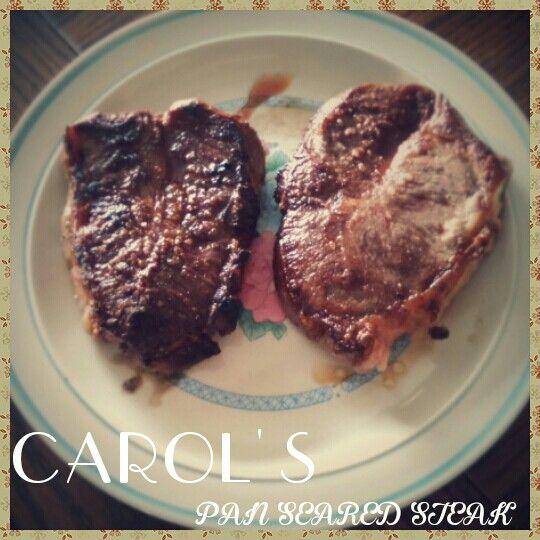 Carol's #Pan #Seared #Steak #delicious #beef medium rare #dinner #f4f