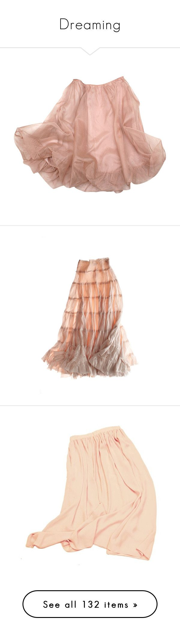 """""""Dreaming"""" by eslafae ❤ liked on Polyvore featuring skirts, bottoms, faldas, dresses, brown skirt, calypso st. barth, юбки, gonne, pink skirt and chiffon skirt"""