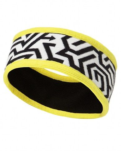 Standout, fleece-lined headband in black, white and yellow from Sweaty Betty.