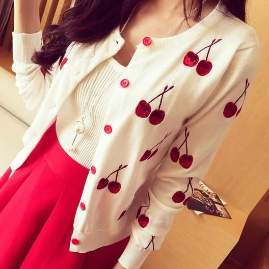 New 2016 cardigan women long sleeve Spring cardigans fashion embroidery cherry knitted cardigan sweater autumn cute tops