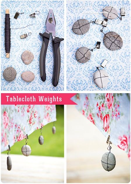 How-To: Tablecloth Weights(will make them with my painted ladybug rocks)
