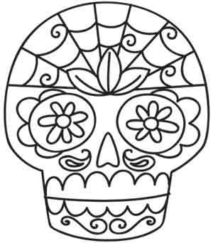 Sugar Skull embroidery pattern from UrbanThreads.com for wedding clutch
