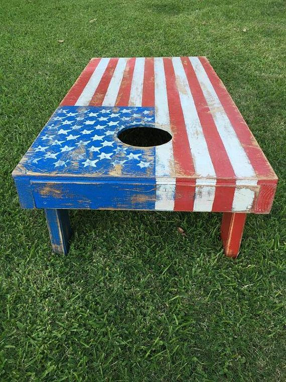 Cornhole board American flag aged wood 2'x4' by standardwoodco