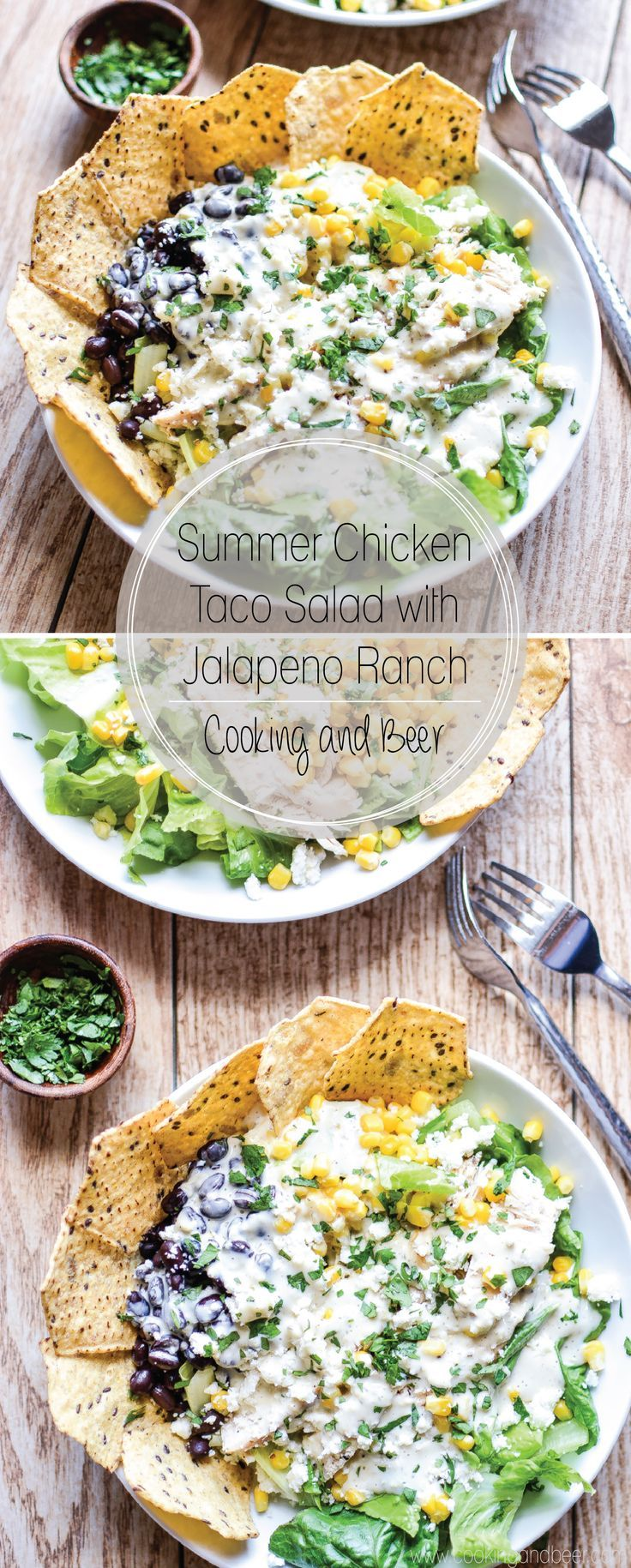 Summer Chicken Taco Salad with Jalapeno Ranch: a refreshing and hearty salad featuring Food Should Taste Good tortilla chips! | www.cookingandbeer.com