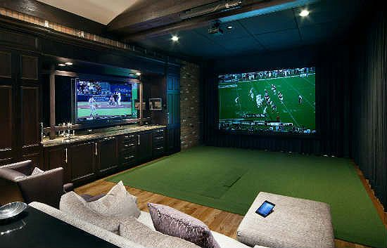 In one configuration, this room acts as a golf simulator, featuring an About Golf simulation system that uses a projector and screen combo and software to ...