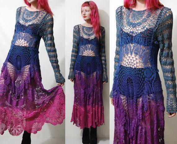 Vestido de crochet estilo vintaje