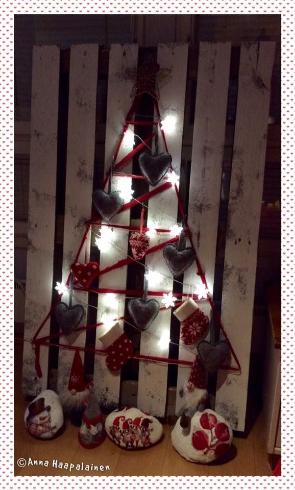 My version of D.I.Y. Christmas tree made from pallet #diy #christmasthree #pallet #joulukuusi #eurolava