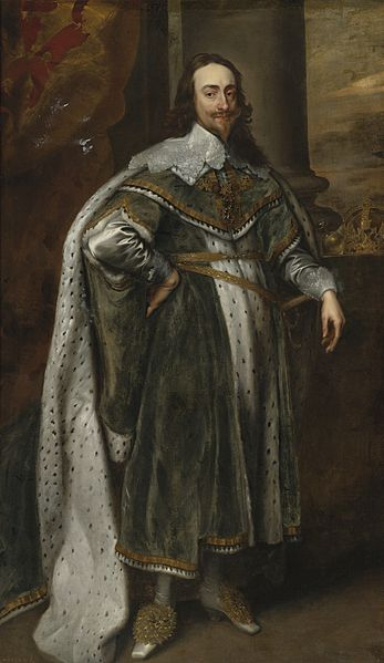 Charles I (1600–1649; reign: March 1625 – January 1649), King of England, by Antoon van Dyck.  Charles I is royalty, obviously, but this portrait is indicative of the male fashion of the time...doublet and petticoat breeches for men-gone!