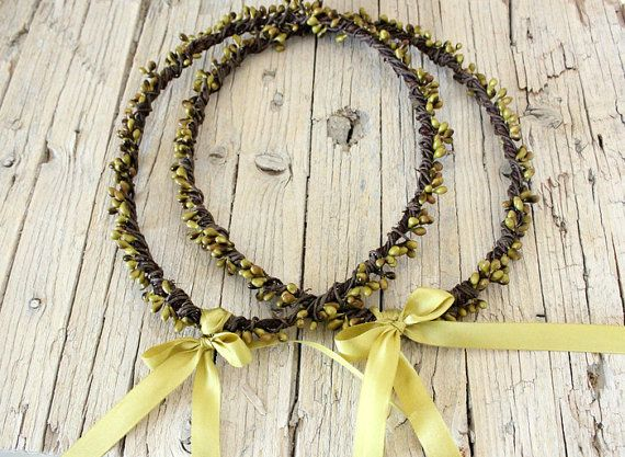 Olive WEDDING Crowns  Wedding Greek Stefana olivine by ManniaTitta