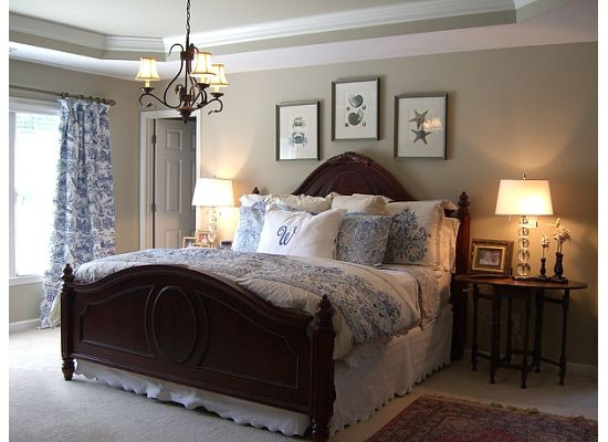Love the blue white toile home ideas for someday for Blue and taupe bedroom ideas
