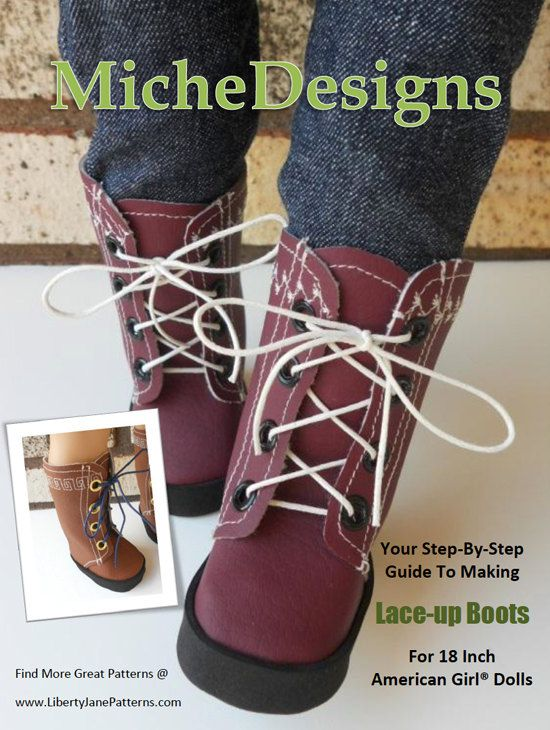 Miche Designs Lace Up Boot Doll Shoe Pattern for 18 inch American Girl Dolls - PDF. $3.99, via Etsy.
